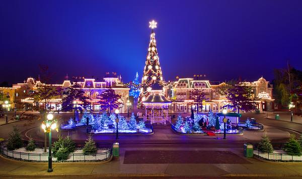 Main Street at Disneyland Paris during Christmas-time after every other guest has gone home.