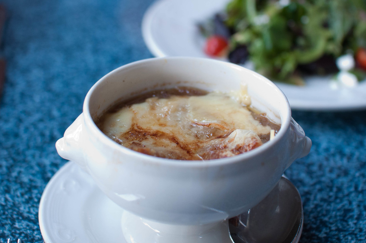 Cafe Orleans French Onion Soup - Sauteed sweet-onion medley in a traditional broth with Croutons and Melted Gruyere