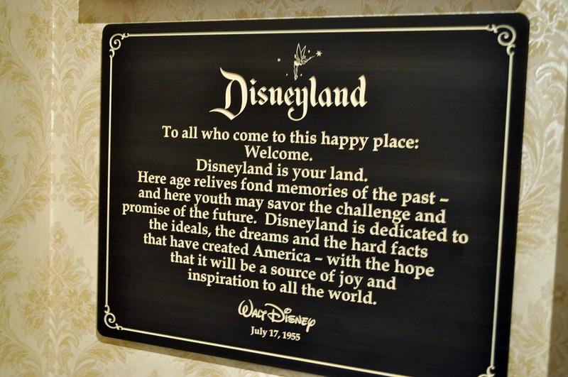 The Disneyland dedication plaque