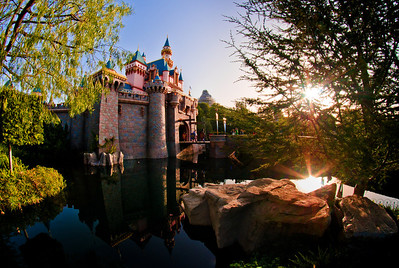 The sunrise over Sleeping Beauty Castle at Disneyland on Leap Day 2012.