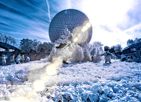<b>Walt Disney World Epcot Future World</b>  It may not really snow in Epcot during the Christmas season, but this infrared photo makes it look like it snowed!   For more Disney Christmas photos and tips, read: http://www.disneytouristblog.com/disney-world-christmas-ultimate-guide/