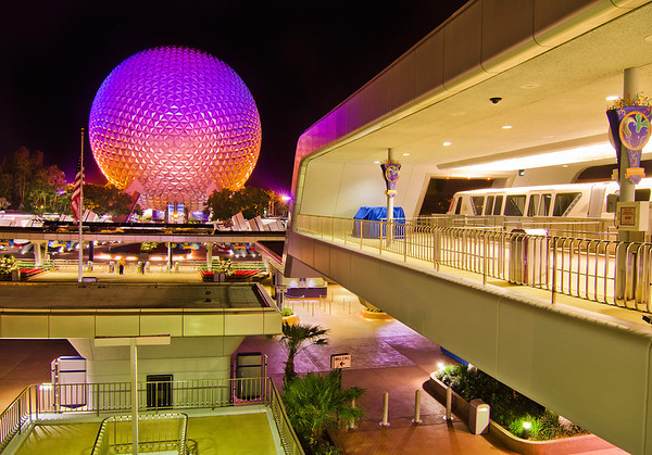 """A monorail arrives at the Epcot monorail platform. <br /> <br /> For some awesome retro-EPCOT"""" photos, check this out: <a href=""""http://www.disneytouristblog.com/epcot-30th-anniversary-guide/"""">http://www.disneytouristblog.com/epcot-30th-anniversary-guide/</a>"""