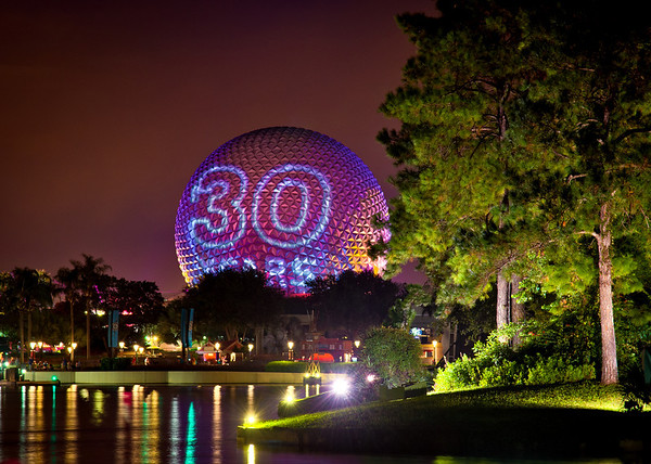 """<b>Walt Disney World EPCOT Center Spaceship Earth</b>  On October 1, 2012, this was projected onto Spaceship Earth following IllumiNations. The projection cycled through """"30 years,"""" """"Happy Anniversary,"""" """"EPCOT,"""" and """"Epcot."""" It was a nice touch."""