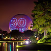 "<b>Walt Disney World EPCOT Center Spaceship Earth</b>  On October 1, 2012, this was projected onto Spaceship Earth following IllumiNations. The projection cycled through ""30 years,"" ""Happy Anniversary,"" ""EPCOT,"" and ""Epcot."" It was a nice touch."