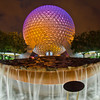 The fountain in front of Spaceship Earth at Walt Disney World's Epcot.