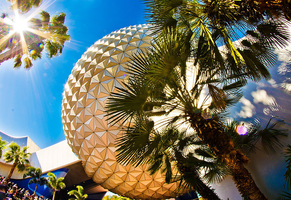 "The morning sun strikes Spaceship Earth.<br /> <br /> Photo taken with a Rokinon 8mm fisheye lens:  <a href=""http://www.disneytouristblog.com/8mm-fisheye-samyang-rokinon-lens-review/"">http://www.disneytouristblog.com/8mm-fisheye-samyang-rokinon-lens-review/</a>"