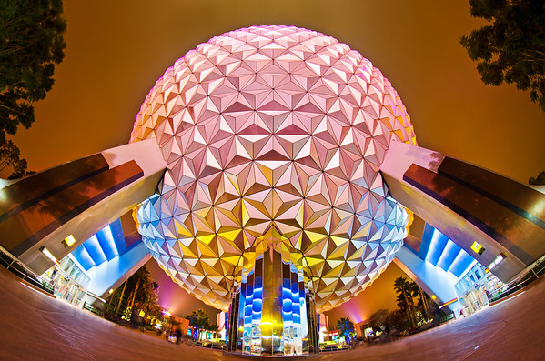 <b>Walt Disney World Resort Epcot Spaceship Earth</b>  The grand and miraculous Spaceship Earth as captured with a fisheye lens after the guests had left Epcot.   More on Epcot: http://www.disneytouristblog.com/tag/epcot/