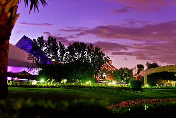 <b>Walt Disney World EPCOT Center Future World</b>  A monorail passes Journey into Imagination and The Land on Epcot's 30th anniversary during the blue hour/dusk.