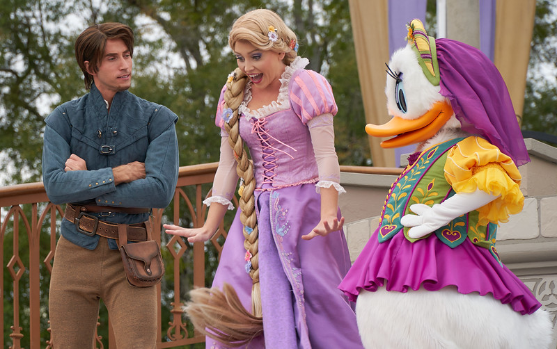 Flynn Rider, Rapunzel and Daysi Duck