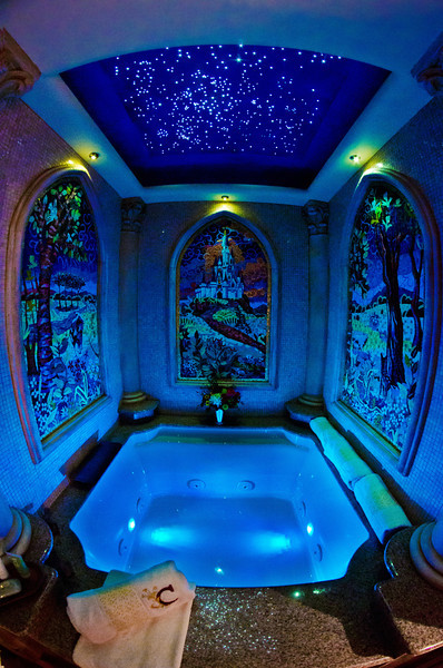 """The bath tub in the Cinderella Castle Suite, photographed with the inexpensive Rokinon 8mm fisheye lens. <br /> <br /> Lens: <a href=""""http://amzn.to/11eRq3c"""">http://amzn.to/11eRq3c</a>"""
