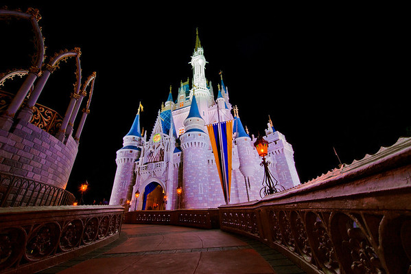"Ultra wide angle photo of Cinderella Castle shot with the Nikon 14-24mm f/2.8 lens. <br /> <br /> Lens review: <a href=""http://www.disneytouristblog.com/nikon-14-24mm-f2-8-lens-review/"">http://www.disneytouristblog.com/nikon-14-24mm-f2-8-lens-review/</a>"