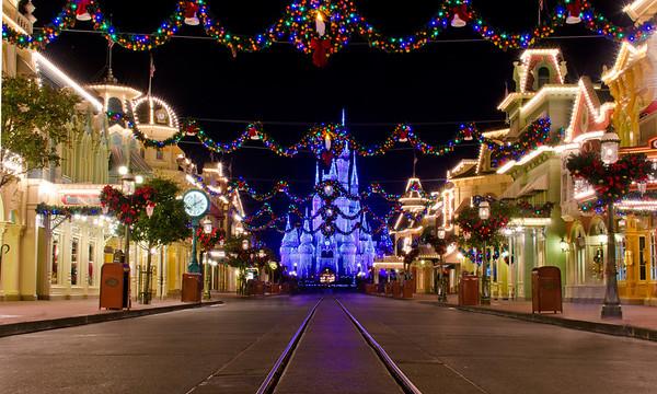 Christmas on an empty Main Street, USA!