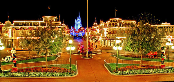 """<b>Walt Disney World Resort Magic Kingdom Christmas on Main Street, USA</b>  Here's an empty Main Street USA in the Magic Kingdom during Christmas season. Have you ever seen Main Street with no one on it?!   For more photos and information about Christmas at Walt Disney World, check out my <a href=""""http://www.disneytouristblog.com/disney-world-christmas-ultimate-guide/"""">Walt Disney World Ultimate Christmas Guide</a>"""
