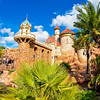 The exterior queue of The Little Mermaid - Ariels Undersea Adventure in Walt Disney World's Magic Kingdom winds past Prince Eric's Castle!
