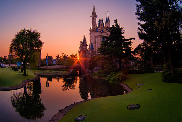 "Sunrise over Cinderella Castle at Tokyo Disneyland. This is actually the inverse of my #1 Cinderella Castle photo spot in the Magic Kingdom (and is probably my #1 photo spot in Tokyo). <br /> <br /> Top 10 Cinderella Castle Photo Spots: <a href=""http://www.disneytouristblog.com/cinderella-castle-photo-spots/"">http://www.disneytouristblog.com/cinderella-castle-photo-spots/</a>"