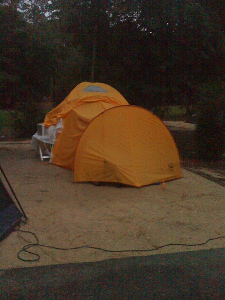 Day 1 - our tent. You can see the window AC on tje side. It work well