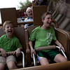 Erik and Dante riding Expedition Everest. You can also see Grandpa in the background.