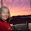 Kathy riding the tram to Epcot. We had a beautiful sunset, but were in transit, so this was the best I could come up with on the fly.