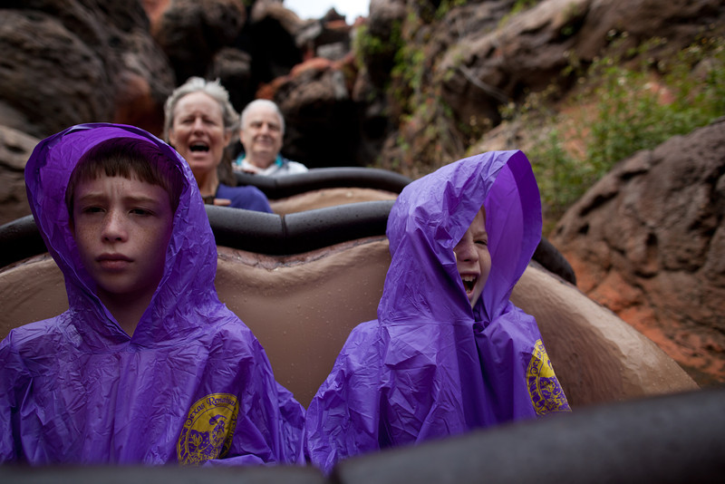 Here we are going down the big hill on Splash Mountain. The boys didn't want to get wet, so they wore their ponchos.