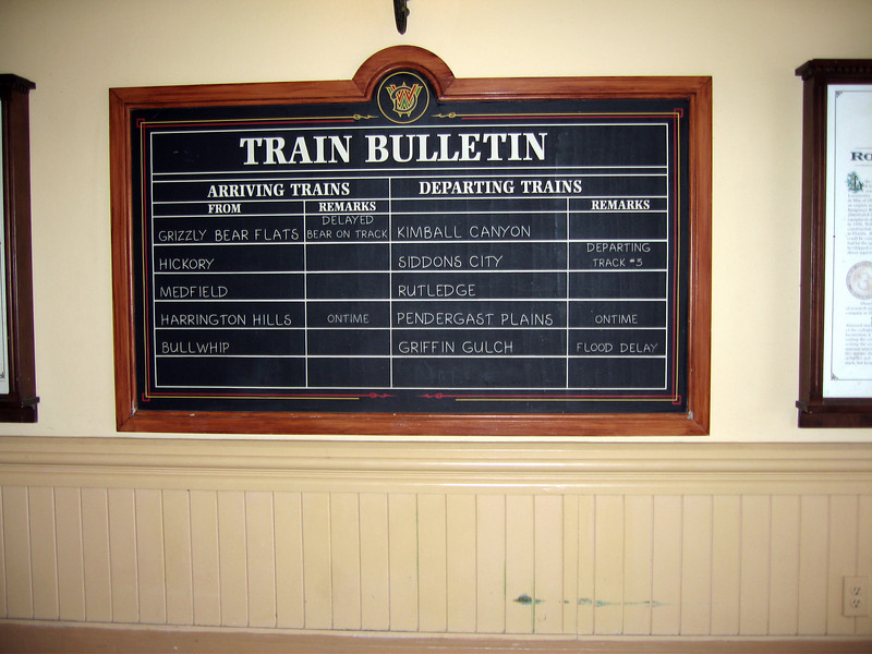 Train Bulletin inside Main Street Station