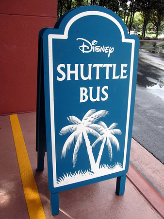 Sign at bus stop at the Dolphin Resort