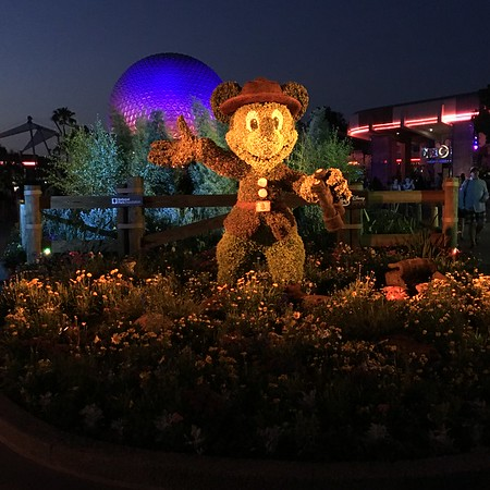 Mickey Mouse Topiary and the Spaceship Earth