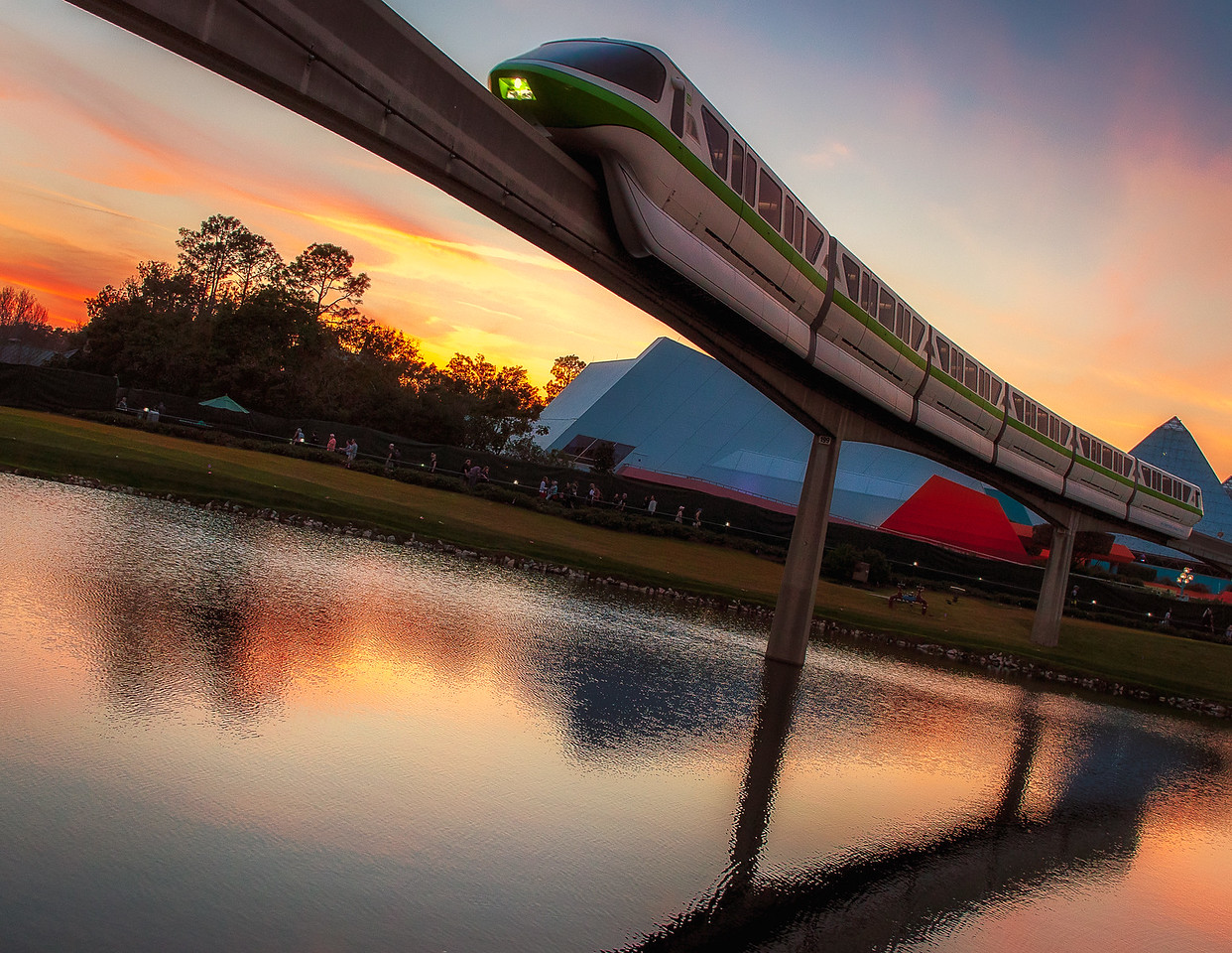 Monorail at Sunset, Epcot Center