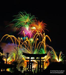 Fireworks Over Torii Gate