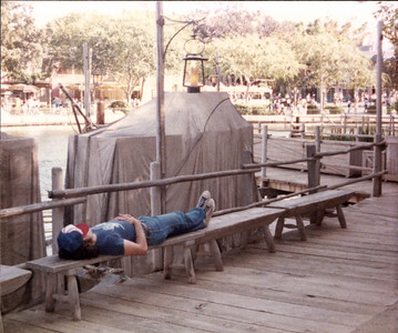 On Tom Sawyer's Island. Jim resting up near the restrooms.