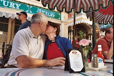 Paul and Linda having breakfast on main street
