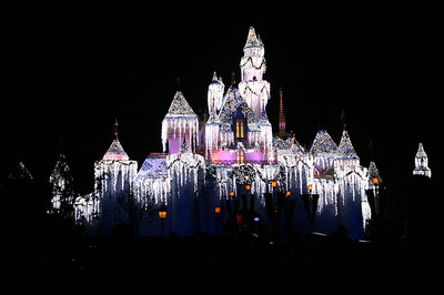 Sleeping Beauty Castle with spectacular twinkling snowy/icy lights.
