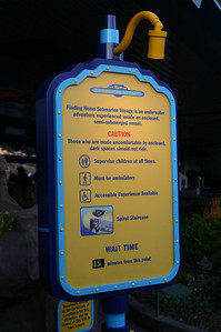 All kinds of warnings about going into the Finding Nemo submarines. We don\'t remember these warnings from the old ride.