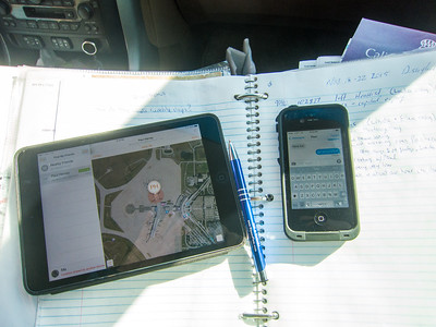 Tracking husband, chatting with husband,  journaling our own journey