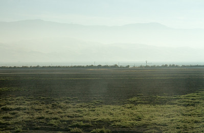 Mountains in heavy haze/smog nearing the Grapevine