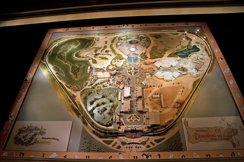 The Main Street Disney museum had a large 3-D model of the original 1950s Disneyland layout. It was a little helpful in figuring out where I needed to go to take the appropriate shots, but it would've been more helpful to have an actual print with me. Next time.