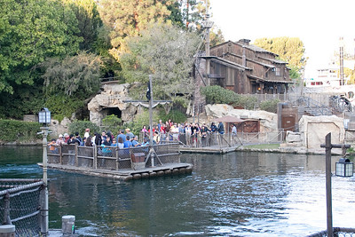 In 2009, the day we were there, only one raft was operating. When they redid Tom Sawyer's Island for Fantasmic, things were greatly rearranged. Note the different structures in view. However...