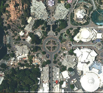 Disneyland central hub today, courtesy of Google maps and satellite photos. edit
