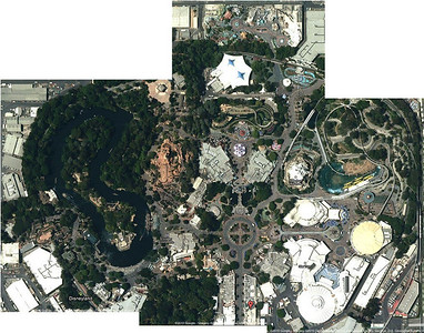 Most of Disneyland today, courtesy of Google maps and satellite photos.
