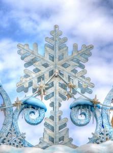 Christmas decor at Disneyland entrance