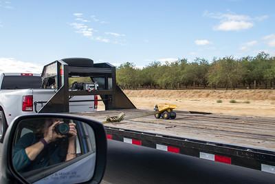 Hauling heavy equipment on I-5
