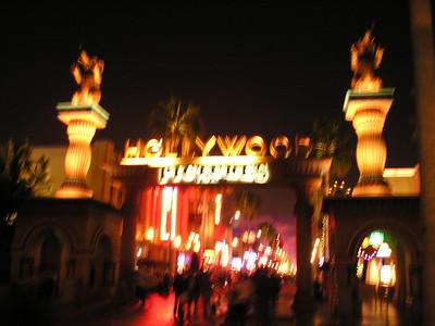 Hollywood backlot at night