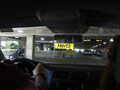 Driving out of the Hertz garage area