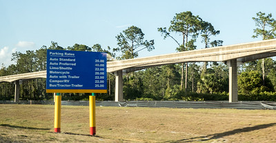 Monorail tracks and signs
