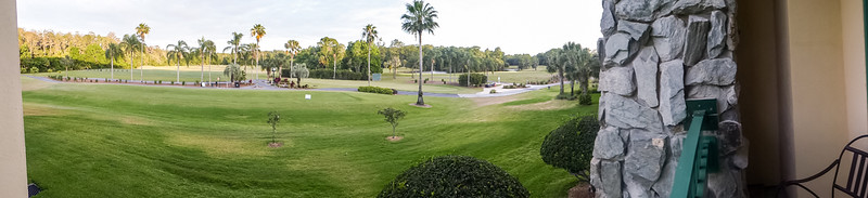 Shades of Green hotel golf course view from our room panorama