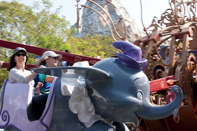 Ellen and ShoRob on the dumbo ride.