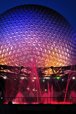 EPCOT ball at night
