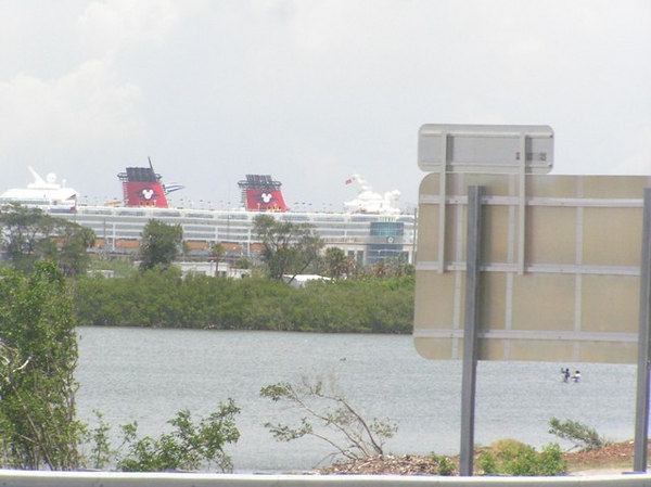 Our first view of a Disney Cruise ship - The Wonder, as we cross the bridge to Cape Canaveral