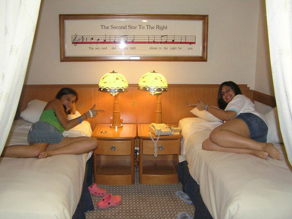 The girls inside stateroom across the hall from us