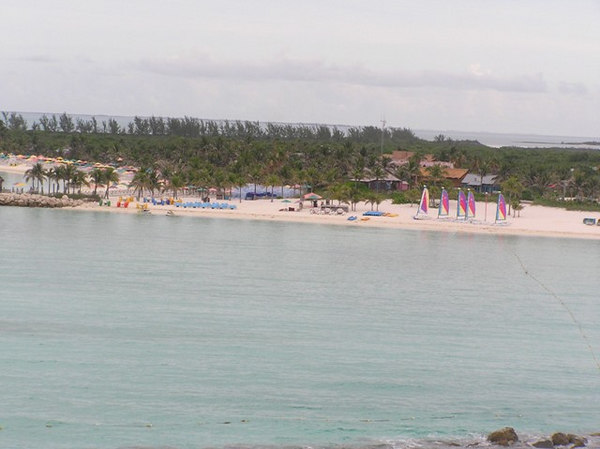Docking at Castaway Cay - from our balcony