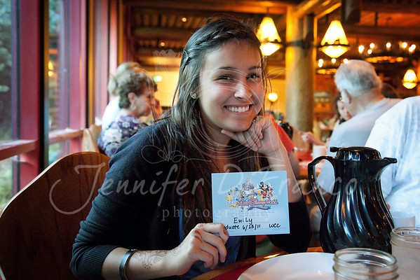 """Our last morning before heading to Vero.  Breakfast with the girls this time at Whispering Canyon Cafe.  Emily got a """"certificate"""" for celebrating her high school graduation."""